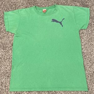 PUMA Green Gray Sport Gym Workout Tee T Shirt
